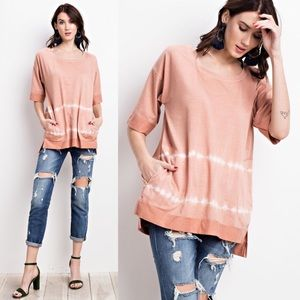 CALISTO Boxy Top w/Pockets - PEACH